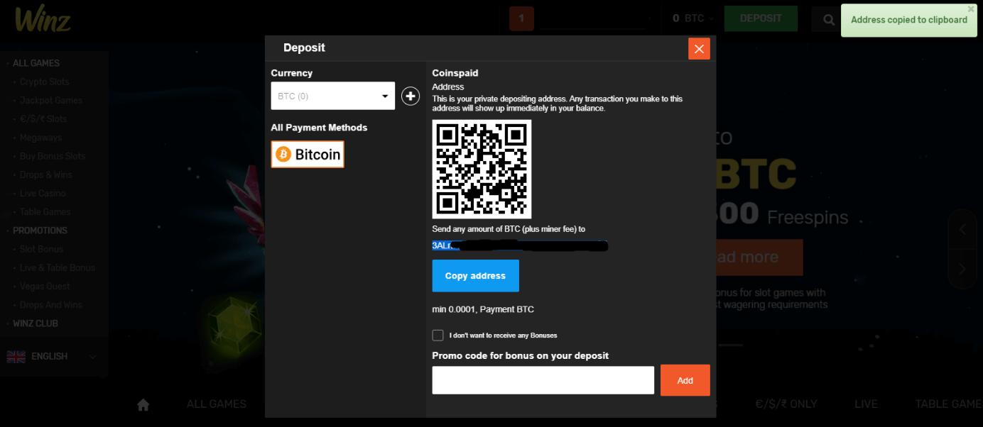 Cara deposit dengan Bitcoin